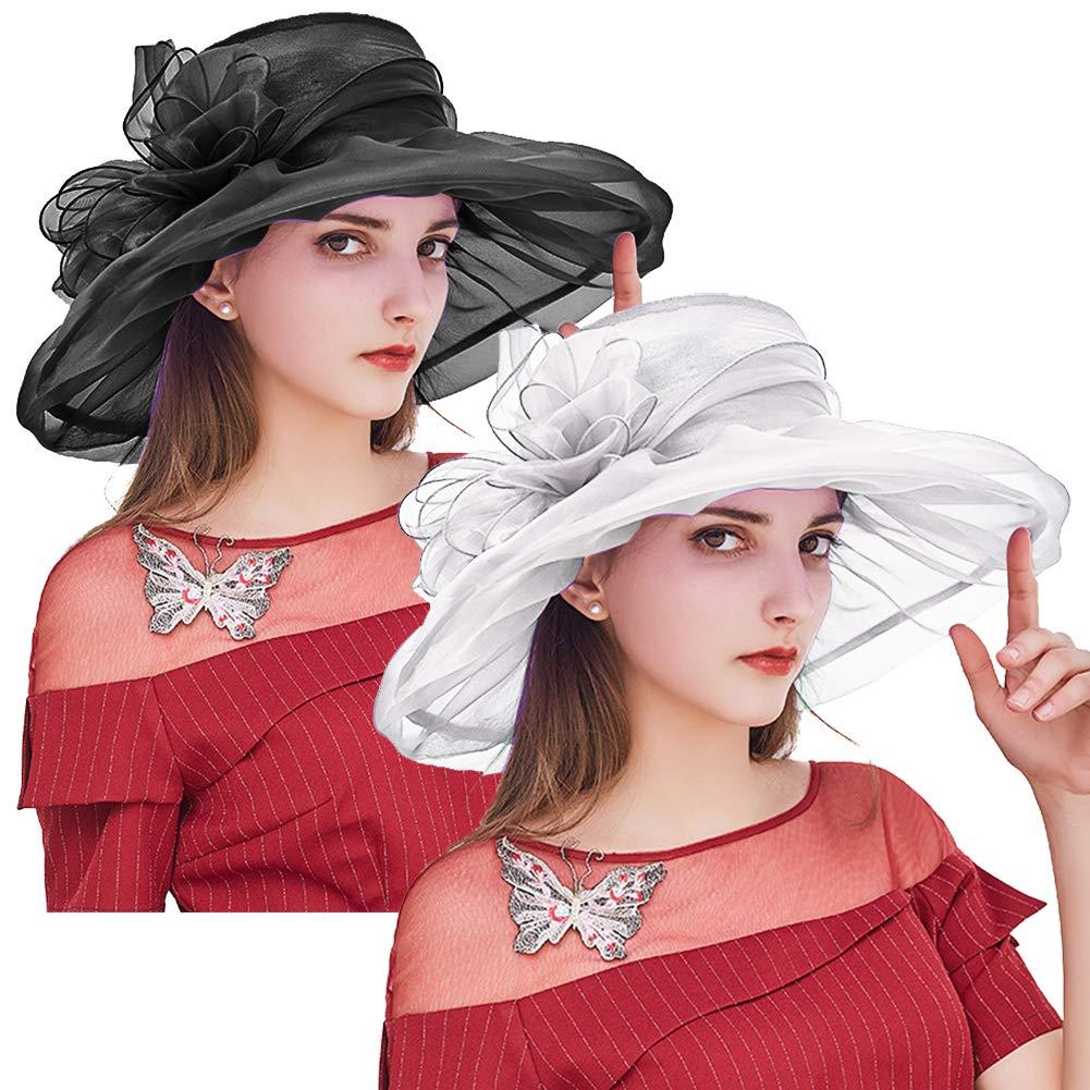 Kentucky Derby Hats for Women, Foldable Organza Tea Party Hats, Fascinator Cap Church Wedding Hat