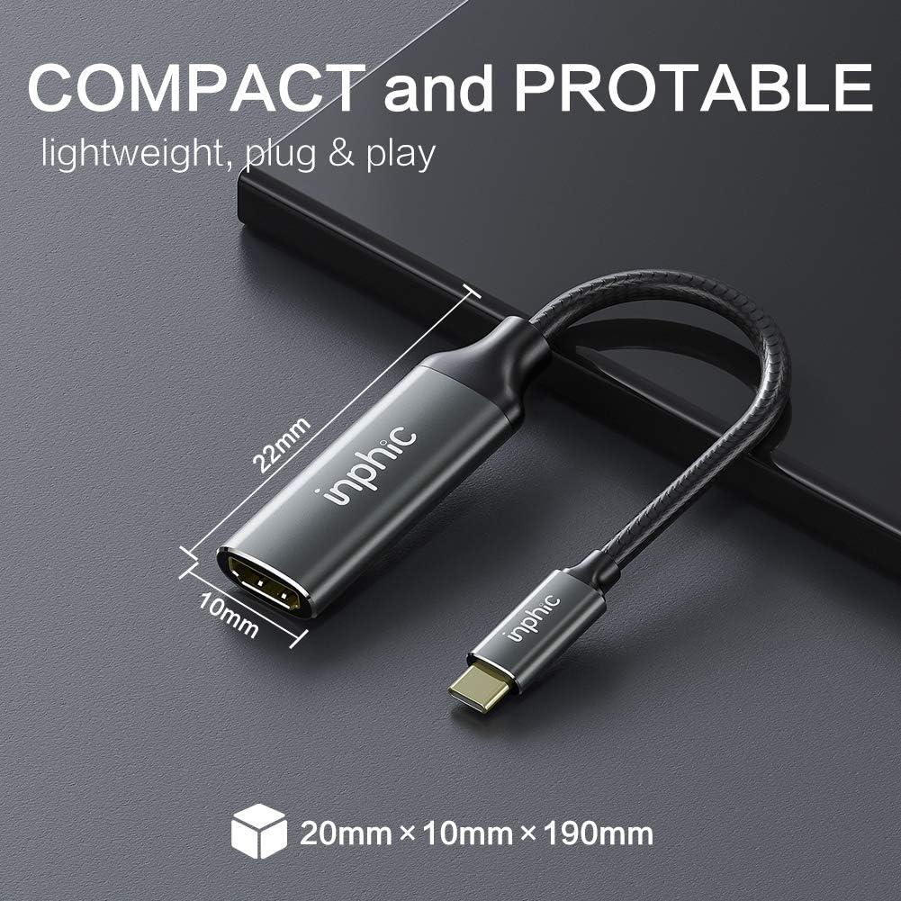 Samsung S10//S9//S8//Note 10 INPHIC Cavo USB C a HDMI Air Huawei P30//P20//Mate20 supporta Thunderbolt 3 da 4 K a 30 Hz adattatore USB tipo C a HDMI compatibile con Apple iPad Pro 2018//2019
