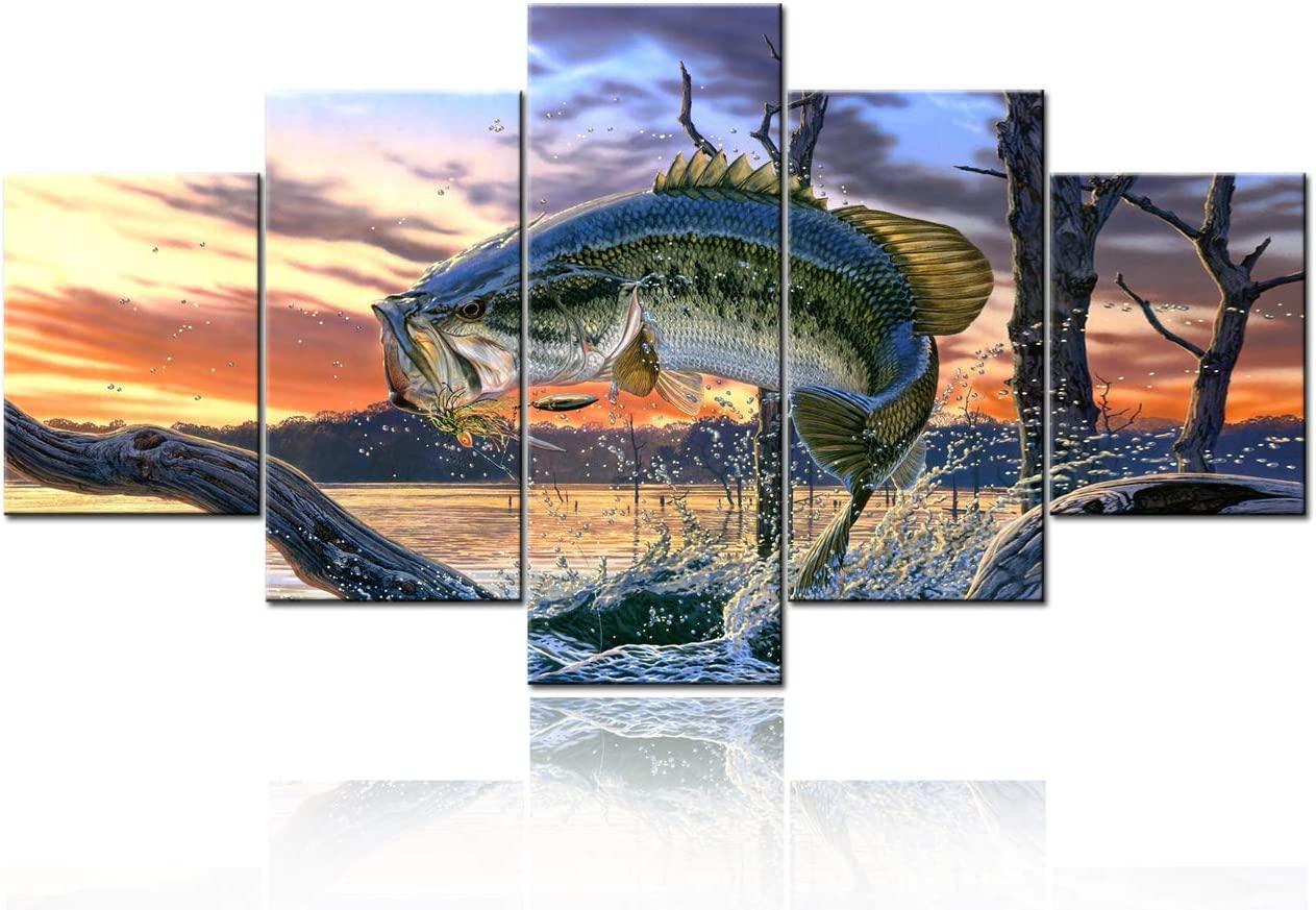 Wall Art for Living Room Bronze Colored Large Mouth Bass Fish Pictures Seascape Paintings 5 Piece Canvas Artwork Modern Home Decor Wooden Framed Giclee Ready to Hang Poster and Prints(60''Wx32''H)