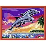 Ravensburger Malen nach Zahlen 28389 - Welt der Delfine, 24 x 30 cm