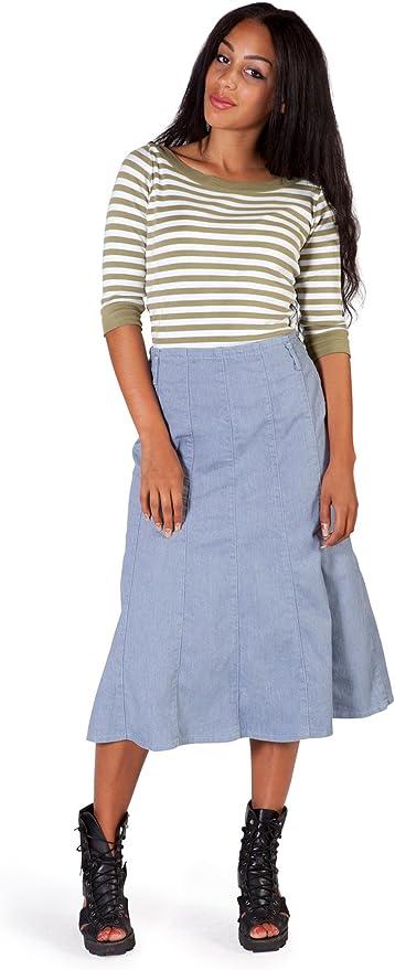 Light Chambray Calf Length Skirt SKIRT92 Womens Jean Skirt Midi Skirt
