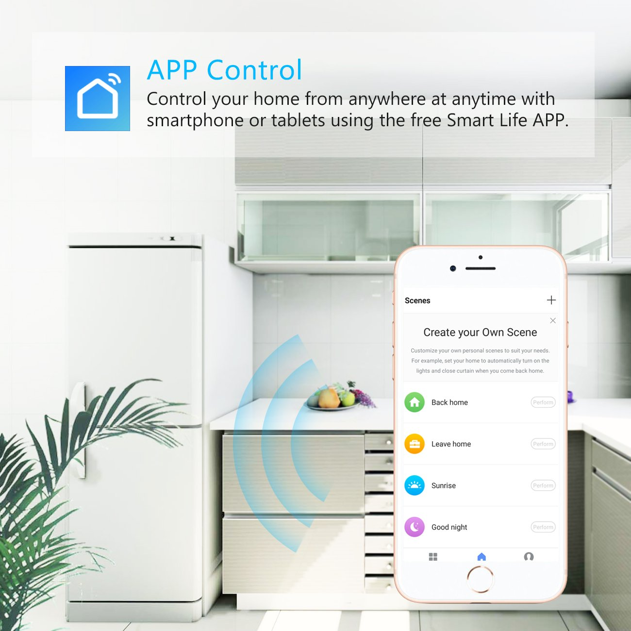 2X Prise Connectée Wi-FI, 2000W 10A Prise Intelligente Fonctionnant avec Amazon Alexa Google Home IFTTT Télécommande de Contrôle Port USB Fonction Timer et Application de Contrôle