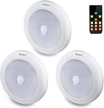 SOAIY [3 PCS] Luz LED de noche regulable para armario con control remoto, Luz de pilas debajo del mueble con 3 temporizadores 3 colores ajustable para Pasillo, Armario, Escaleras, Dormitorio, Cocina: Amazon.es: Iluminación