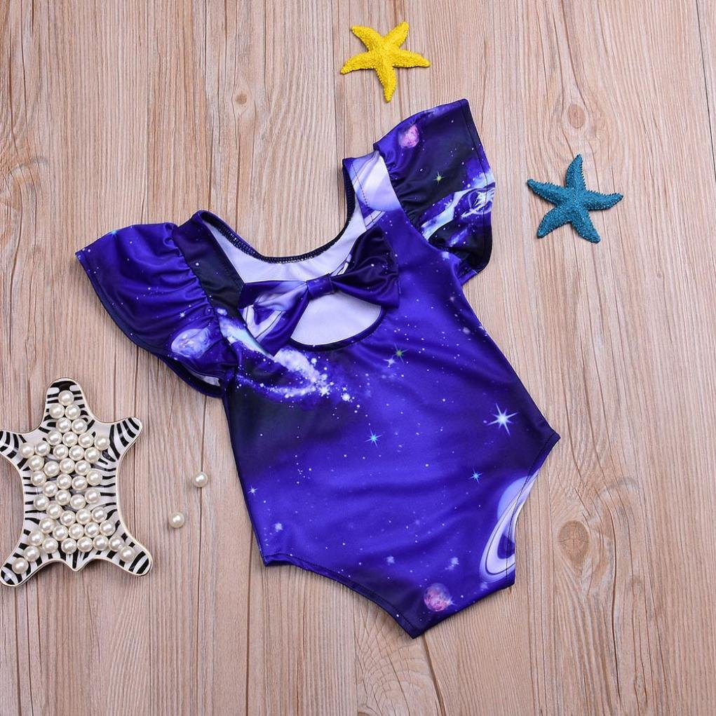 Fartido Baby Girls 3D Galaxy Ruffles Swim Suit Infant One-Pieces Beachwear 0-3T