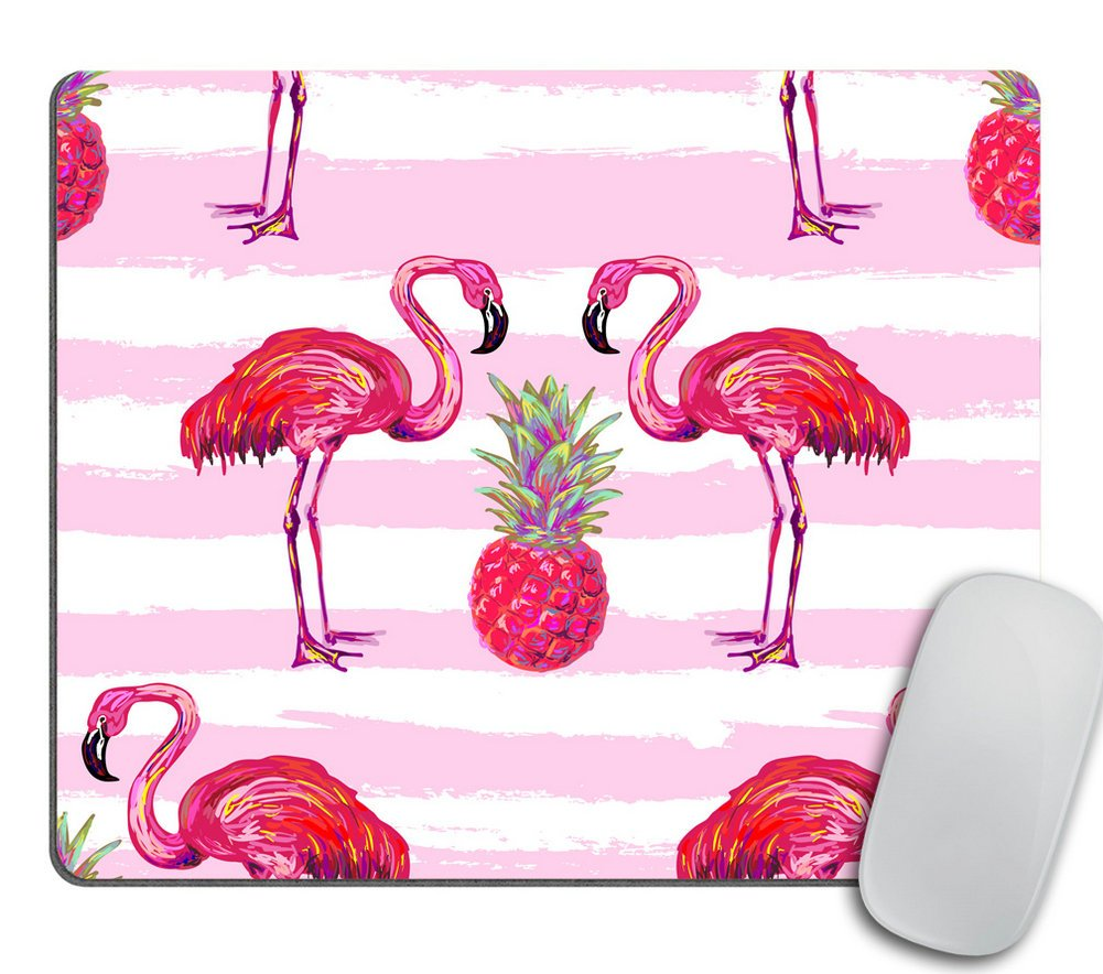 Summer Tropical Pattern with Flamingo and Pineapple Mouse Pad - Pink Mouse pad - Rectangle - Flamingo Mousepad - Pineapple Office Accessories Desk Home Decor
