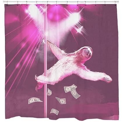 Sharp Shirter Stripper Sloth Shower Curtains Amazoncouk Kitchen Home