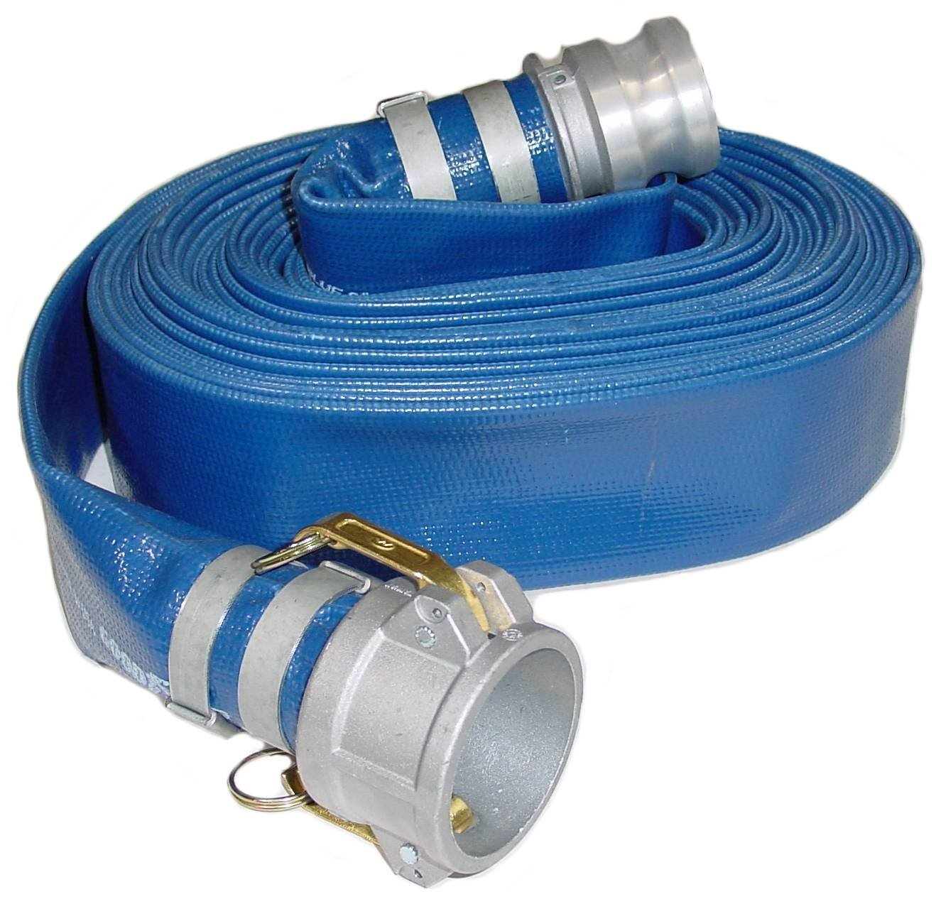 Abbott Rubber PVC Discharge Hose Assembly, Blue, 3'' Male X Female Cam And Groove, 60 psi Max Pressure, 50' Length, 3'' ID