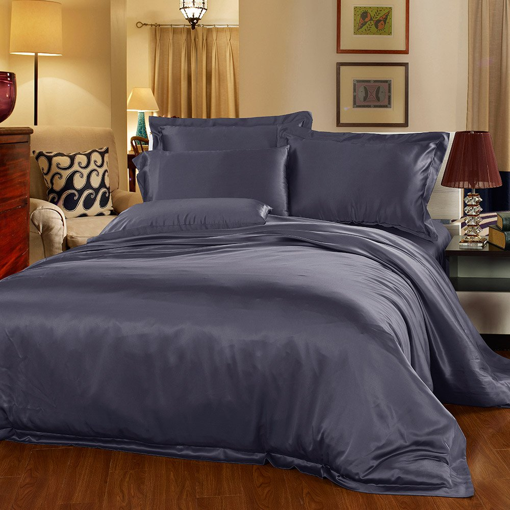 LilySilk Mulberry Silk Duvet Cover Seamless Washable 22 Momme 100 Pure Natural Luxury Comforter Cover Charcoal Purple Queen (87''W x 90''L + 2'')