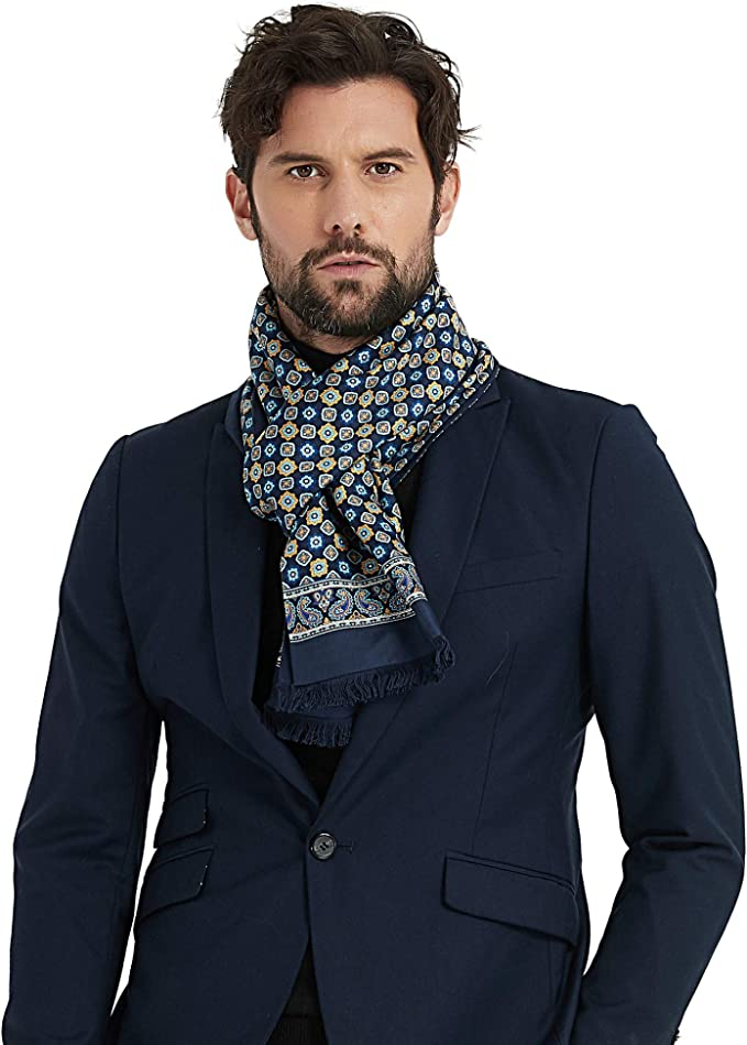 CUDDLE DREAMS Men's Luxury Silk Scarves, Brushed Silk Lined, Double Layer, 100% Mulberry Silk (Gem Blue)