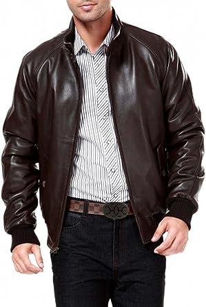 Mens Dark Brown Real Leather Raglan Sleeve Bomber Jacket at Amazon ...