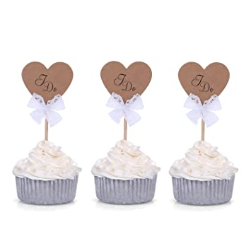 Amazon 24 ct brown rustic wedding cupcake toppers i do by 24 ct brown rustic wedding cupcake toppers quoti doquot junglespirit Images