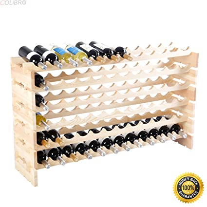Amazon Com Colibrox New 72 Bottle Wood Wine Rack Stackable Storage