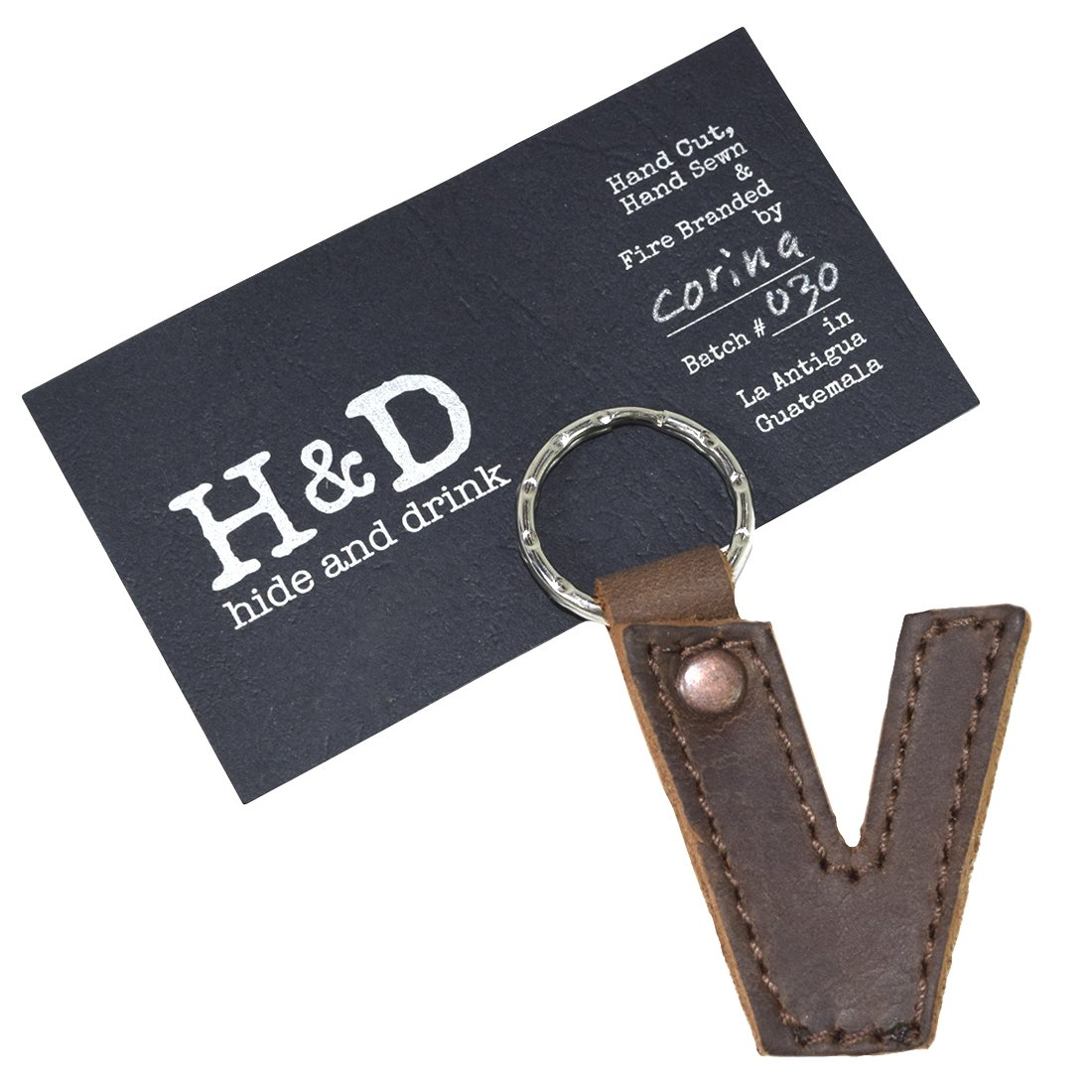 Bourbon Brown Thick Leather Alphabet Letter Keychains Handmade by Hide /& Drink