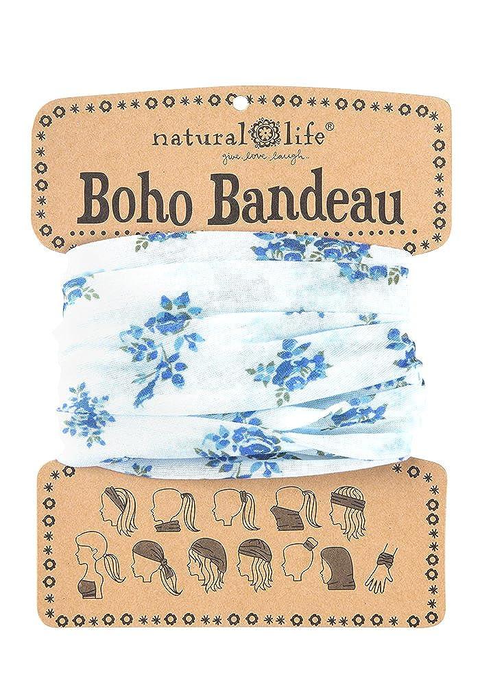 Natural Life BBW111 - Bandana mujer color azul estampado múltiples posiciones