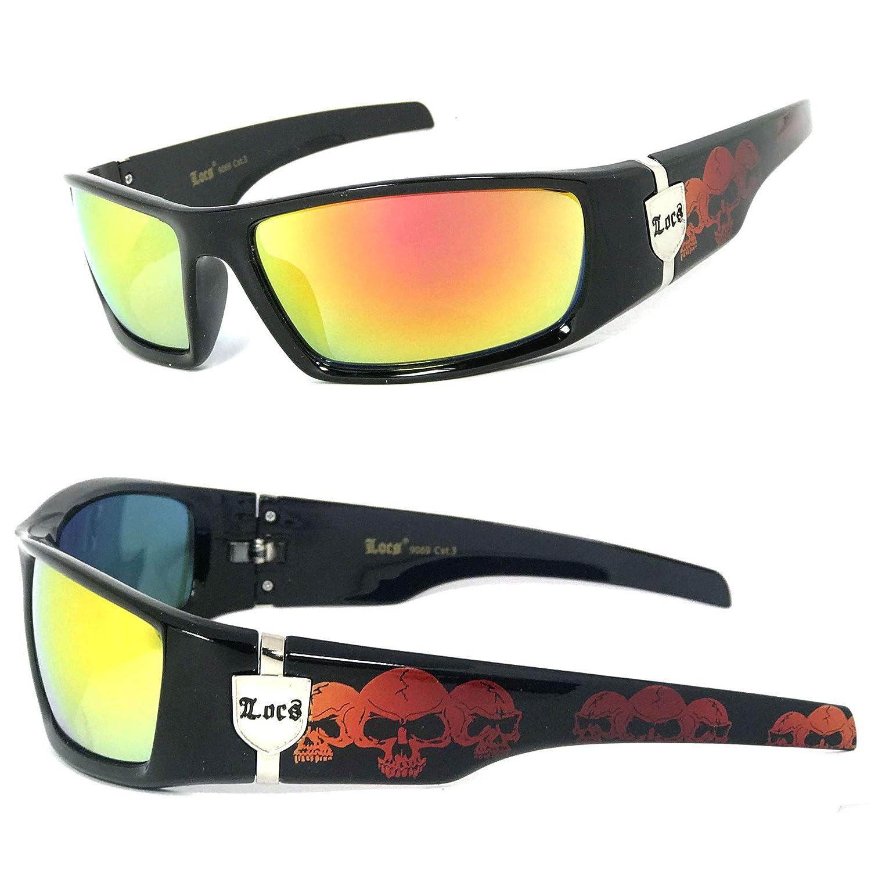 Locs Men Dark Lens Gangster Black OG Sunglasses Biker Skull Pattern ON The ARMS