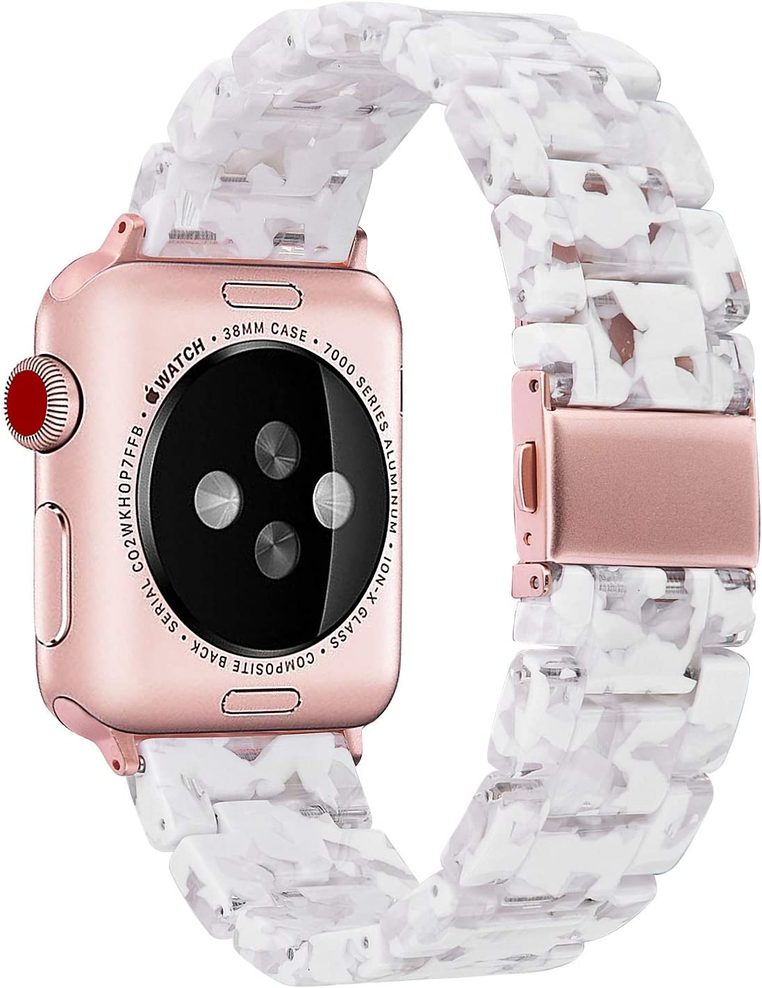 V-MORO Resin Strap Compatible with Apple Watch Band 38mm 40mm Series 5/4/3/2/1 Women Men with Stainless Steel Buckle, Apple iWatch Replacement Wristband Bracelet-Floral White
