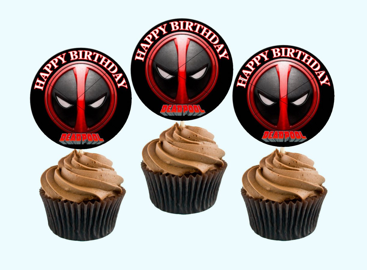 12 Happy Birthday DEADPOOL Inspired Party Picks, Cupcake Picks, Cupcake Toppers