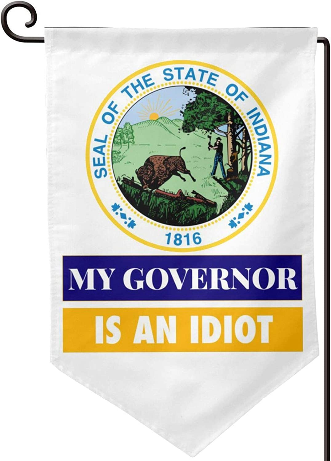 Cbxzyzzc My Governor is an Indiana Idaho Double-Sized Print Decorative Holiday Home Flag12.5 X 18 Inch Two Sided Inches American Flags USA Garden Flag