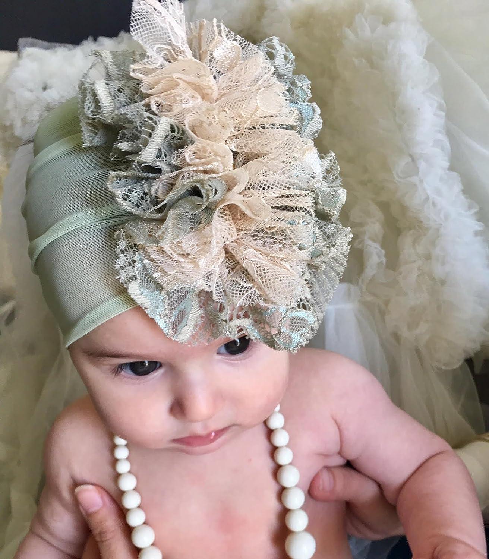 Amazon com handmade green baby girl headband best for 0 12 month old with fabric flower and rhinestone handmade