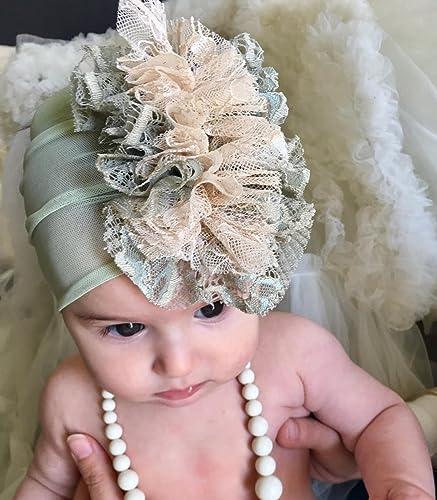 Amazon.com  Handmade Green Baby Girl Headband best for 0-12 month ... da60d32509d