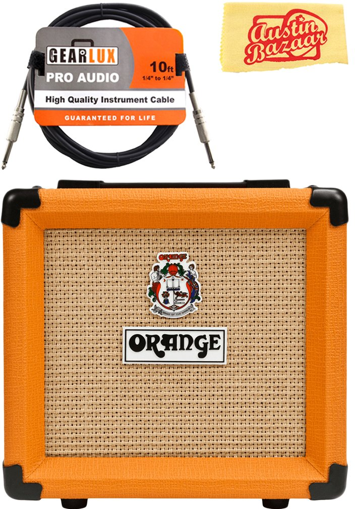 Orange PPC108 1x8-Inch Closed-Back Speaker Cabinet Bundle with Instrument Cable and Austin Bazaar Polishing Cloth by Orange