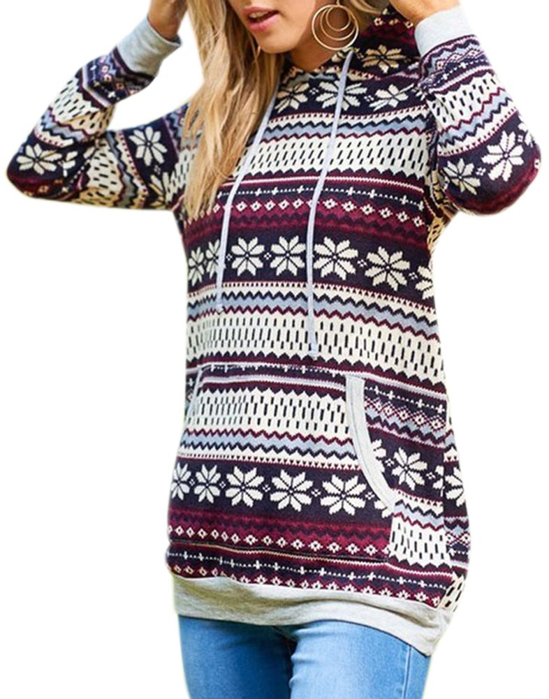 For G and PL Christmas Women Snow Flake Pattern Knitted Casual Sweatshirt Hoodie Cotton Gifts Loose Pocket Tunic Tops Burgundy M