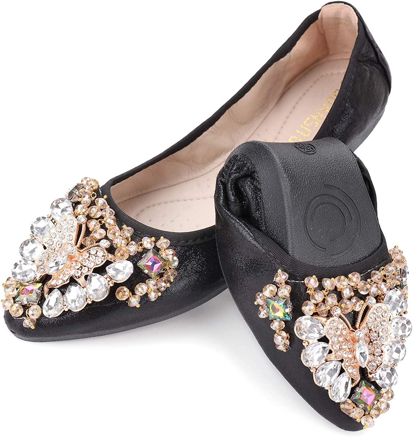 Amazon Com Women S Foldable Ballet Flats Casual Rhinestone Sparkly Wedding Ballerina Shoe Comfort Slip On Flat Shoes Flats