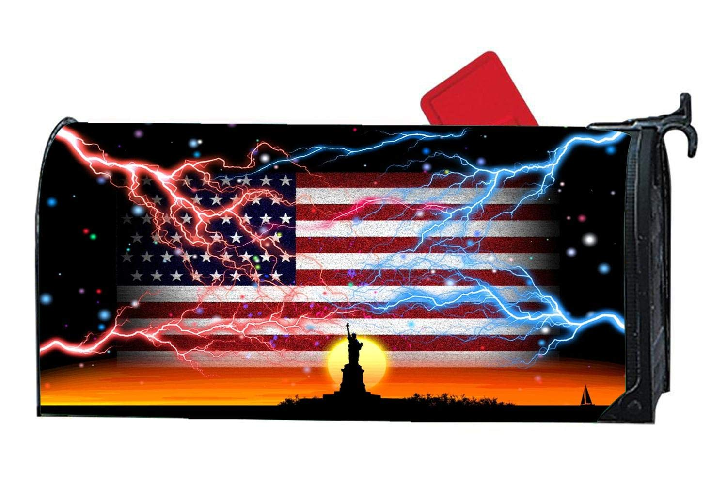 Mailbox Cover Magnetic Personalized Mail Wrap Mailbox Makeover Cover - Weatherproof Vinyl, Fit Standard 6.5'' x 19'' Mailboxes - Luxury American Flag