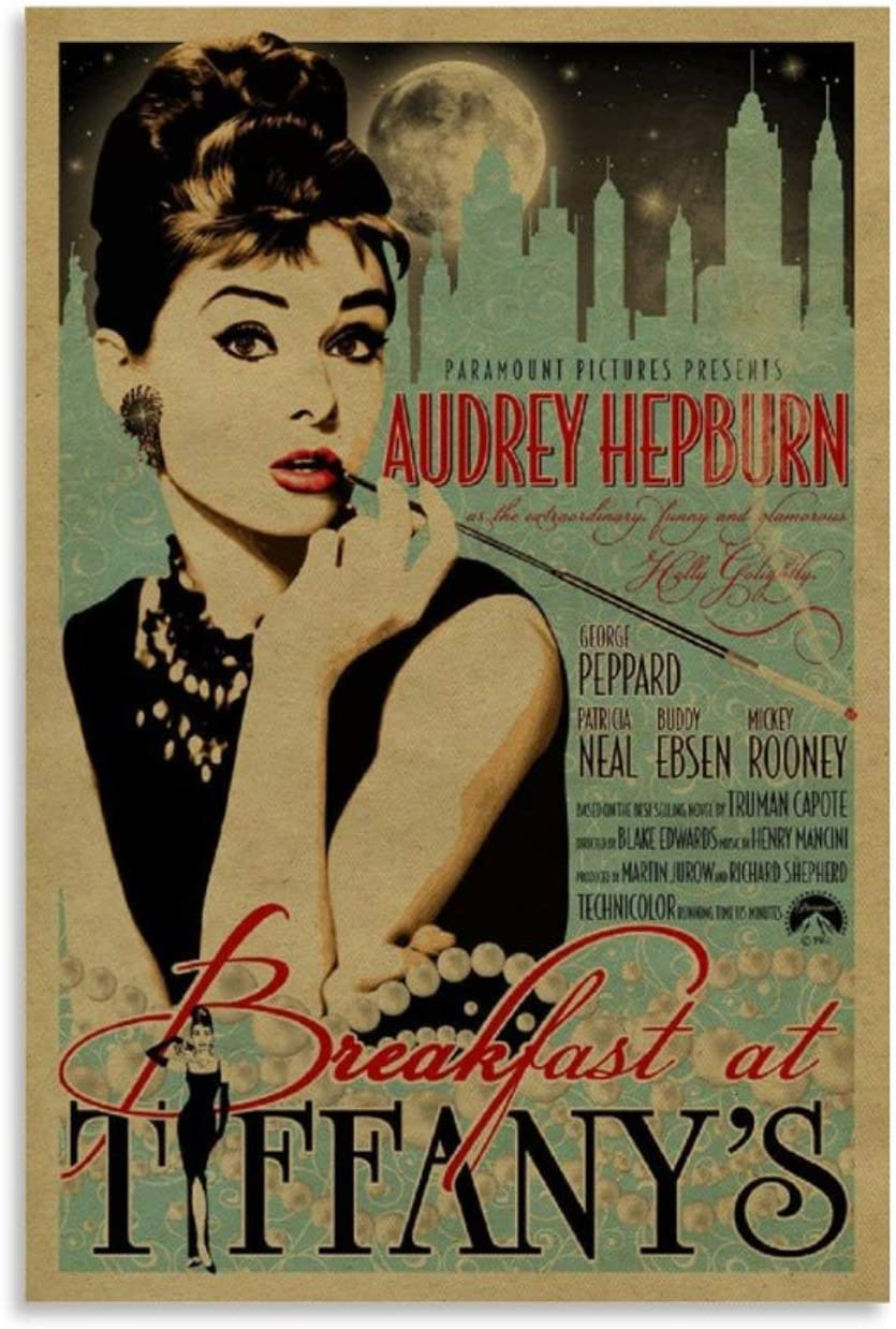 QASD Audrey Hepburn in Breakfast at Tiffany's Retro Movie Prints Poster Living Room Wall Art Decor Canvas Hanging Picture 16x24inch(40x60cm)