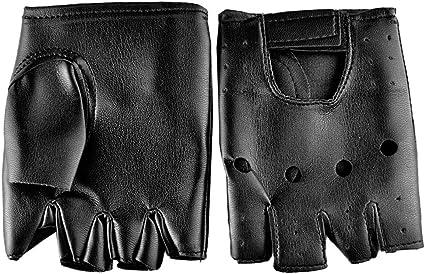 Men Half Finger Biker Driving Faux Leather Gloves Black Fingerless Gloves