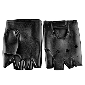 Nankod Gants mi-doigts antidérapants en similicuir pour hommes femmes,  mitaines de poignet 2a2fd56f4ca