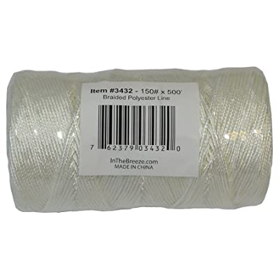 In the Breeze 3432 Braided Polyester Bulk Kite Line, 150 lb. x 500', White: Toys & Games