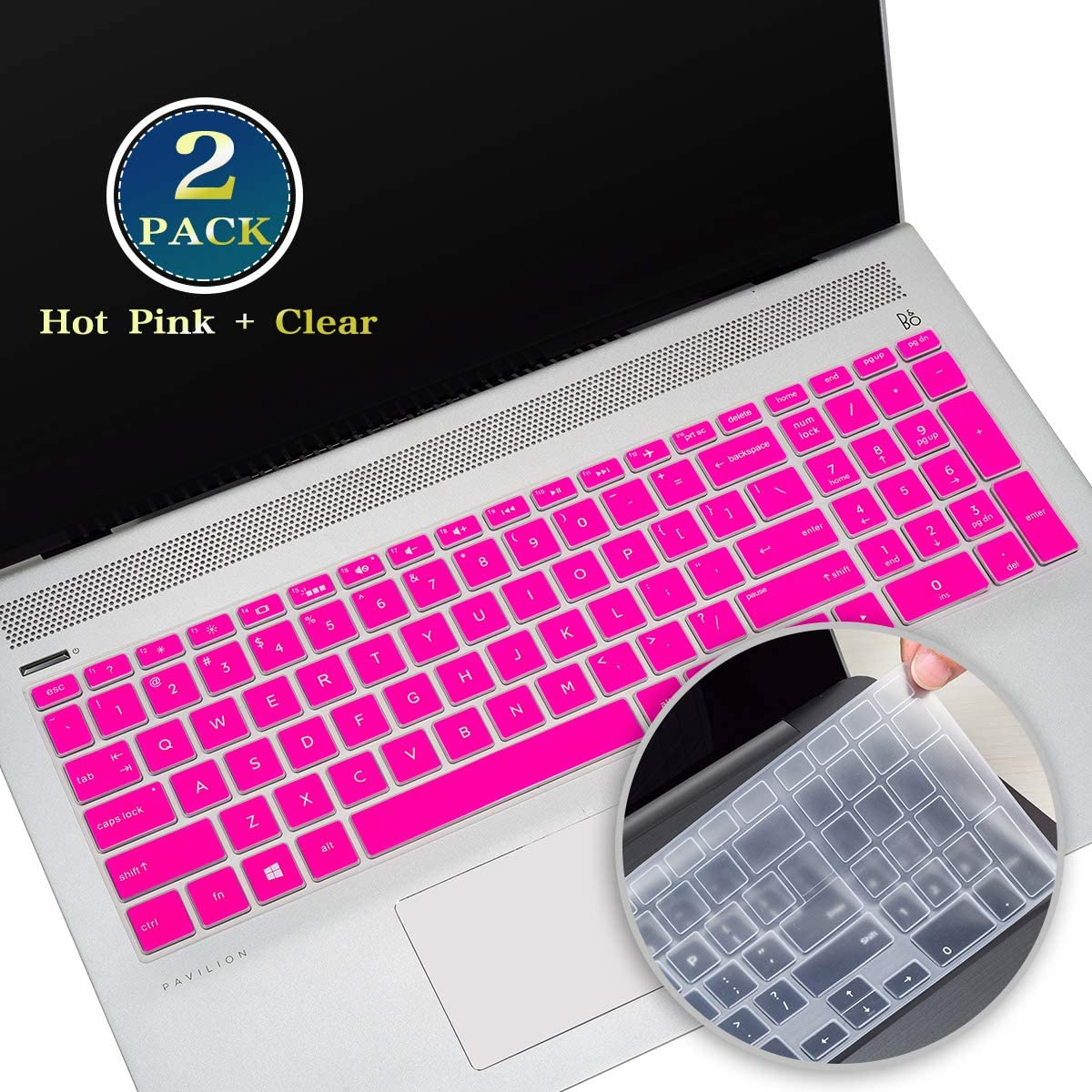 2 Pack Keyboard Cover Skin for HP Pavilion x360 15.6 Inch 2019 2020, HP Envy x360 15.6 Laptop,HP Envy 15t Series, HP Spectre x360 15-ch, HP 15.6 Laptop Keyboard Protector(Hot Pink+Clear)