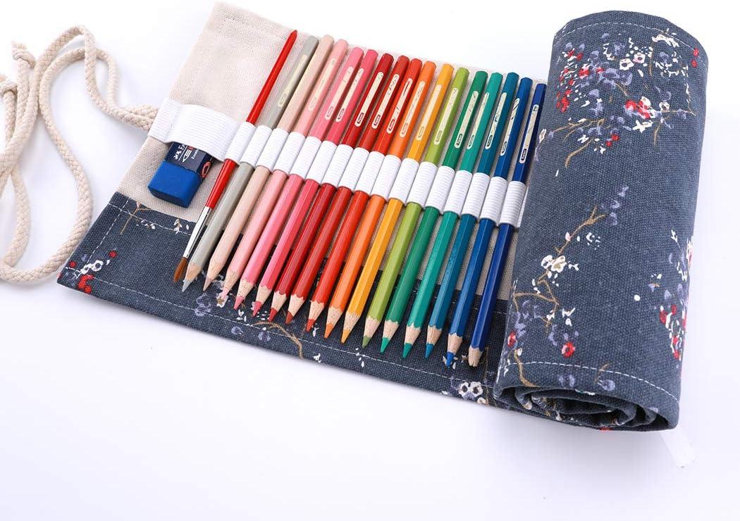no inclusa matite Foglia nero amoyie Sacchetto della matita tela rotolo astuccio per 36 matite colorate