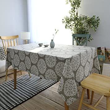 Bringsine Cotton Linen Fashion Baroque Style Printed Washable Tablecloth  Vintage Oblong Dinner Picnic Table Cloth Home