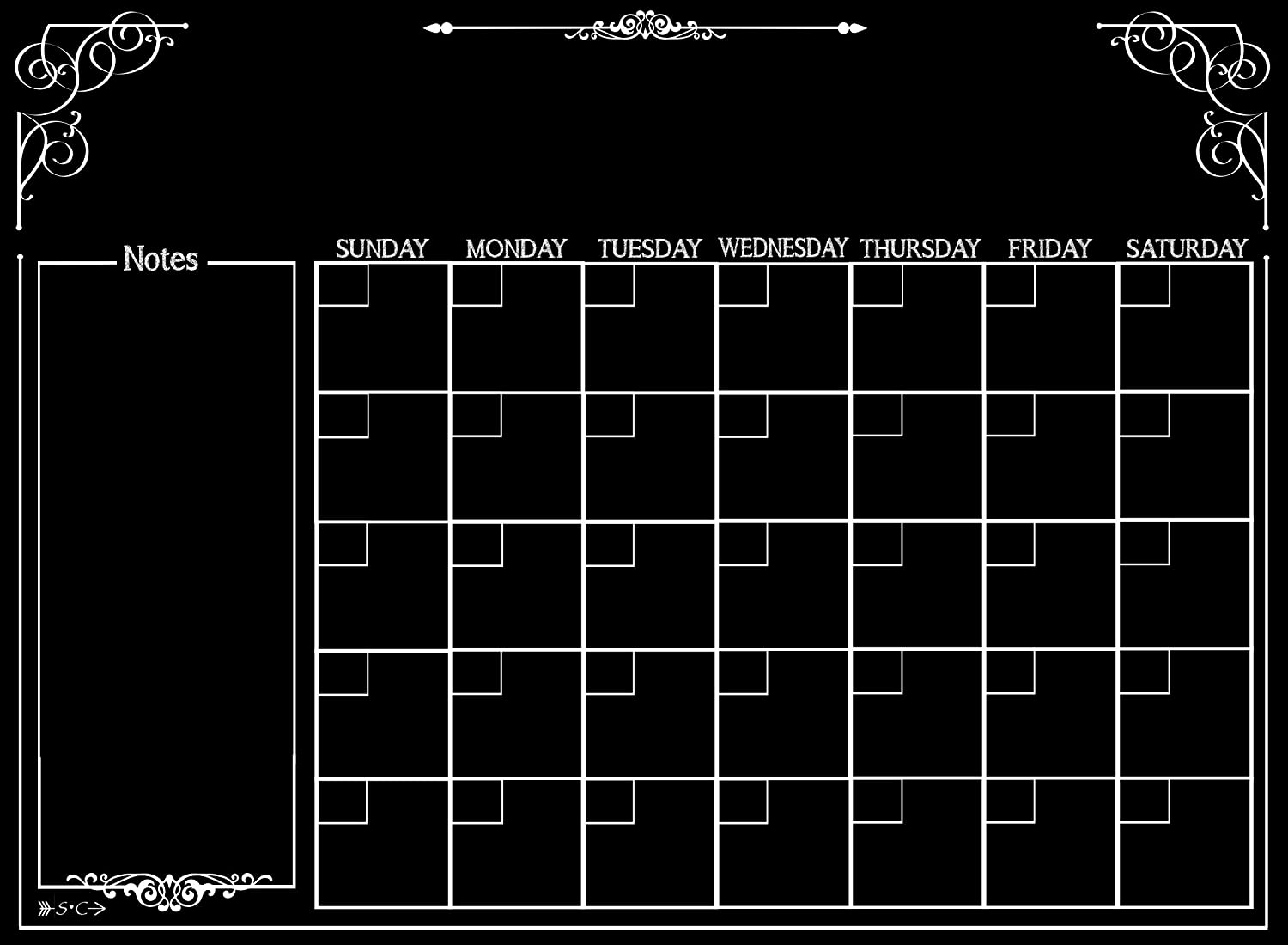 Calendar | Magnetic Chalkboard Style Refrigerator Calendar | Monthly Organizer | Dry Erase Board | Large Calendar | Kitchen Organizer | Smooth Black Surface | Waterproof | 11 x 15 inches Simply Chic Chateau