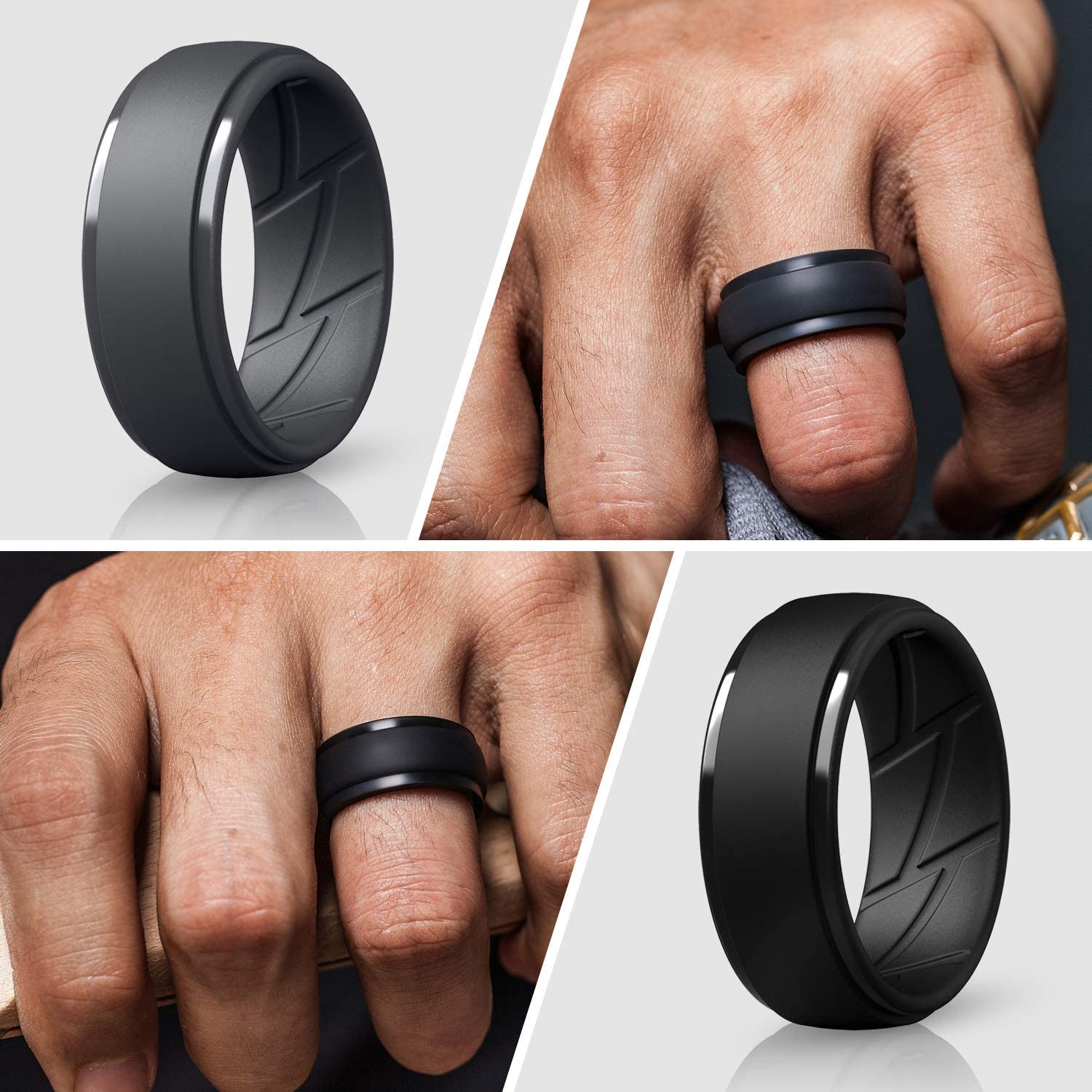 ThunderFit Silicone Wedding Ring for Men 10mm Wide 2.5mm Thick Breathable with Air Flow Grooves