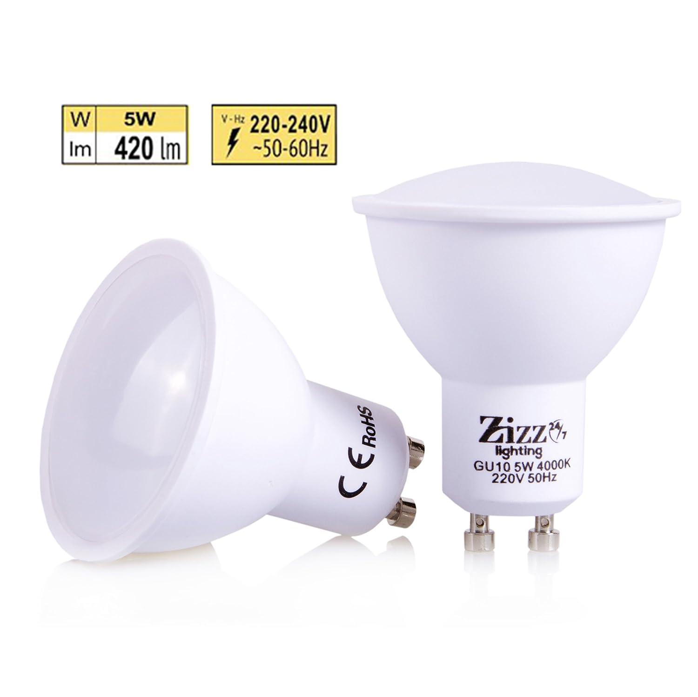 Bombillas de bajo consumo LED, 5 W, GU10, sustituto para focos halógenos de 50 W, ahorra hasta 90% en las facturas de la luz, ángulo del haz de 120 grados, ...