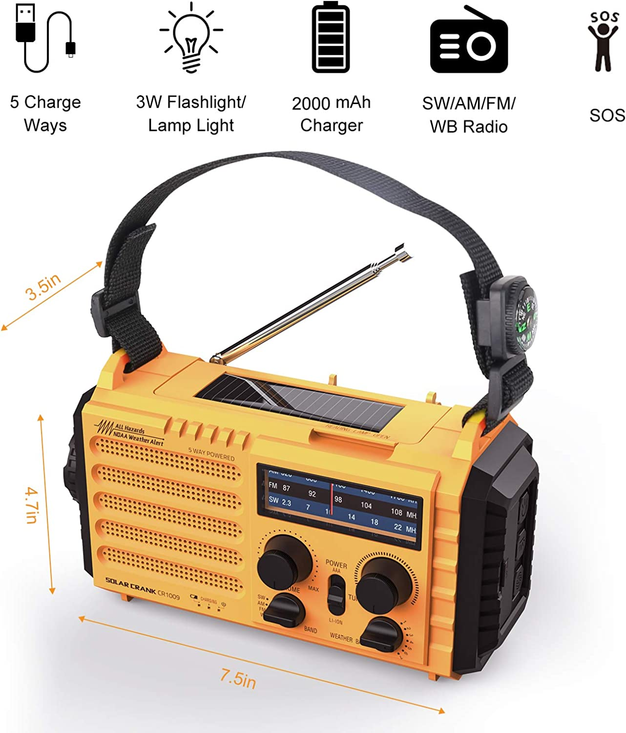 Weather Radio Raynic Solar Hand Crank Emergency Radio 5 Ways Powered AM/FM/SW/NOAA Weather Alert Portable Radio with Flashlight, Reading Lamp, Cellphone Charger and SOS Alarm (Yellow): Home Audio & Theater