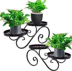 [2 Pack] Metal Flower Stand Black Plant Stand Floor Flower Pot Plant Holder Indoor Outdoor Flower Rack Display for Flower Pot Metal Garden Container Round Supports Rack (Set of 2)