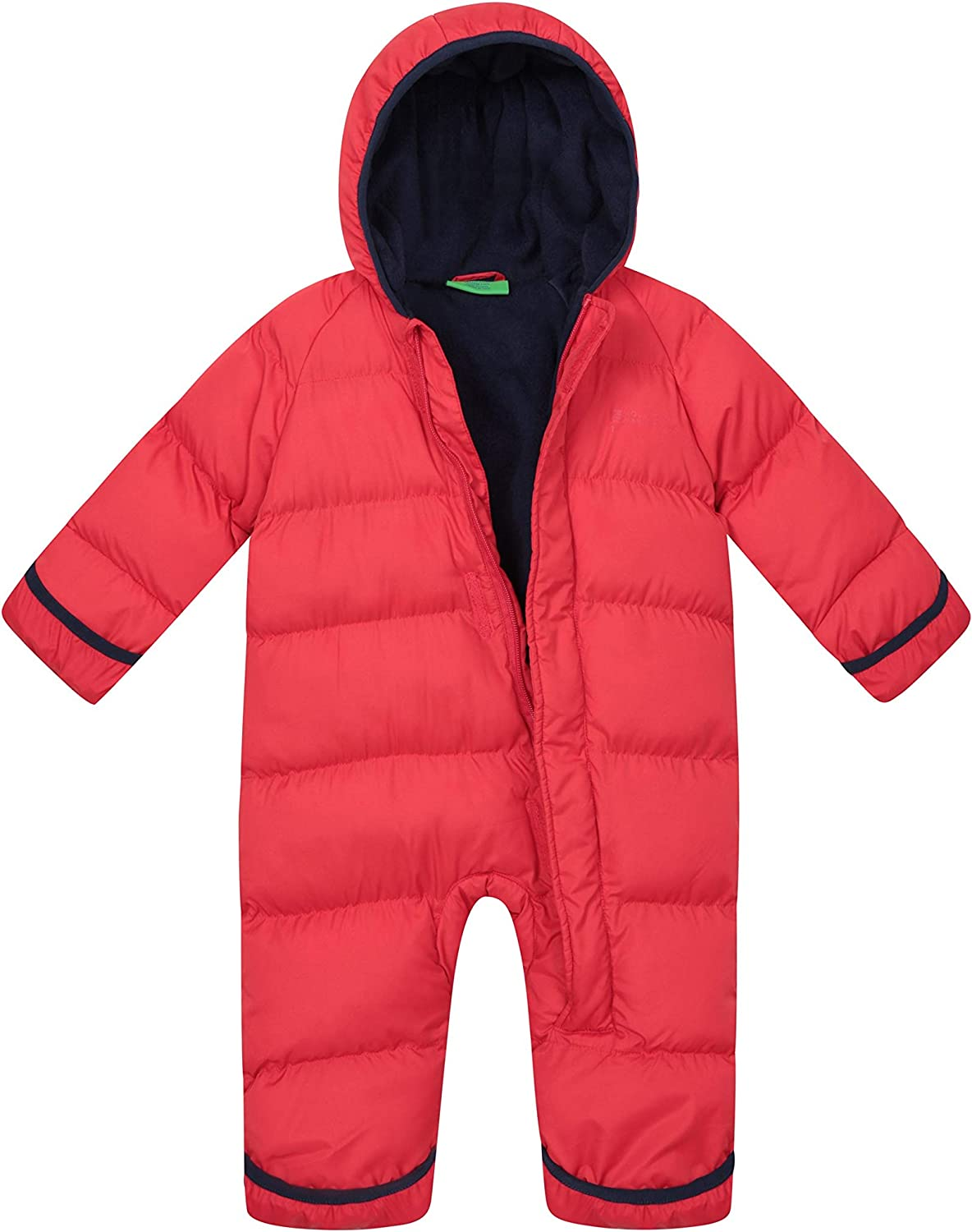 Fleece Lining Childrens Snowsuit Foot Cuffs Hand Mountain Warehouse Frosty Junior Padded Suit Hoodie Ideal for Winter Holidays Central Zip