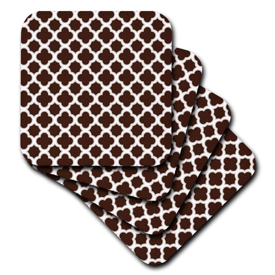 Set of 8 3dRose CST/_165920/_2 Quatrefoil Pattern Brown and White Soft Coasters