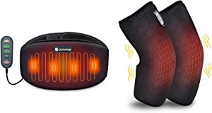 Comfier Heating Pad for Back Pain Knee Massager Bundle | Heat Belly Wrap Belt with Vibration Massage, Fast Heating Pads with Auto Shut Off, for Lumbar, Abdominal, Leg Cramps Arthritic Pain Relief