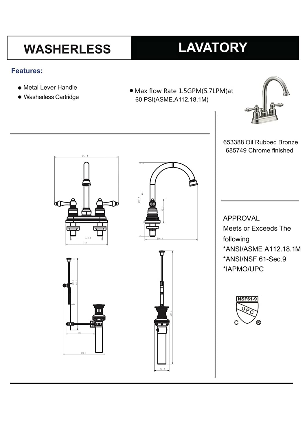 Designers Impressions 617430 Satin Nickel Two Handle Lavatory Bathroom Vanity Faucet Bathroom Sink Faucet with Matching Pop-Up Drain Trim Assembly