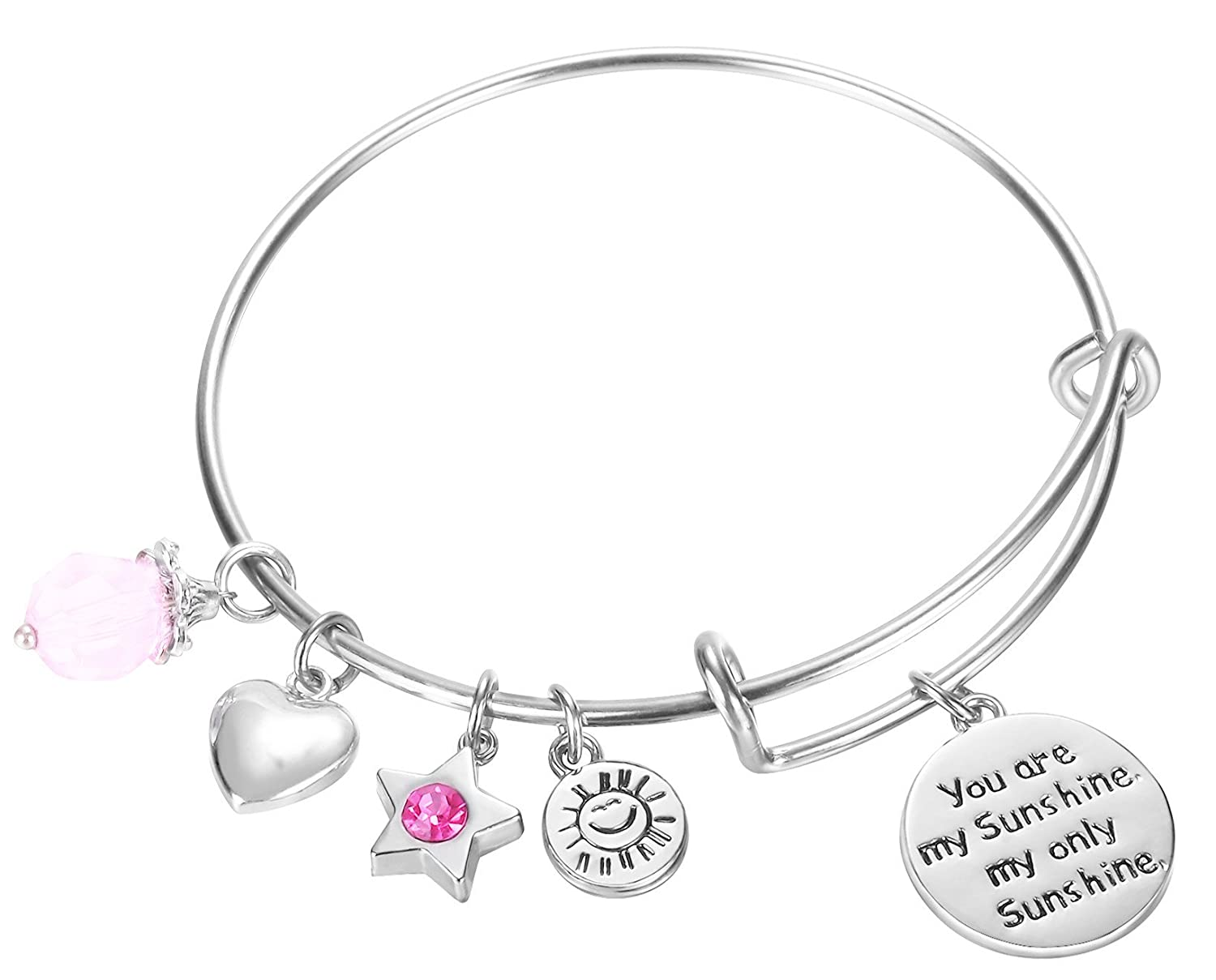 You are my sunshine, my only sunshine Charms Pendant Cute Expandable Wire Bangle Adjustable Bracelet