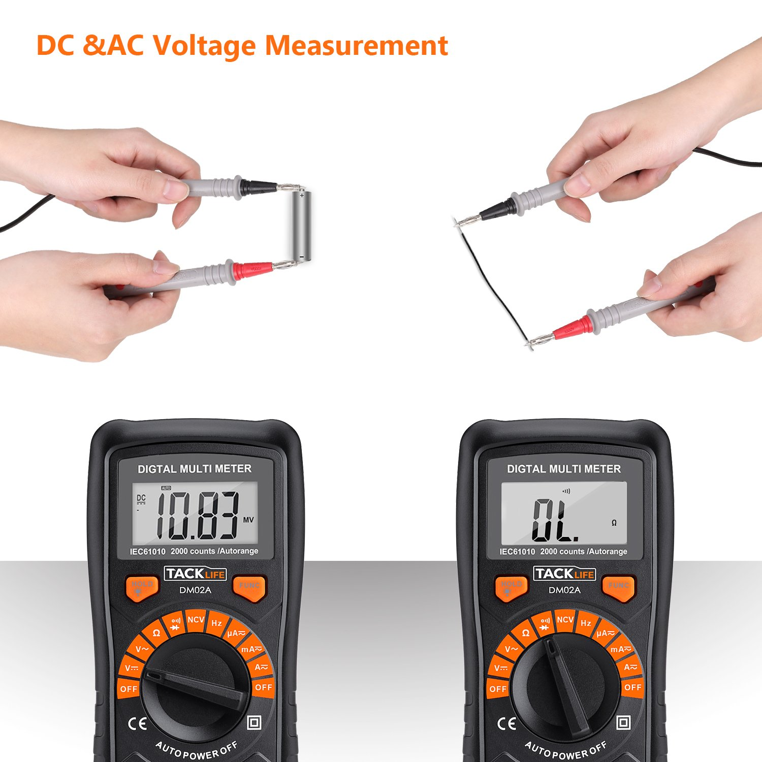 Multimeter Tacklife DM02S Auto-Ranging Digital Multimeters NCV Electrical Tester Multimeter Tester Volt Amp Ohm Diode, Continuity Test Meter LCD Backlight Measurement Tools with Screwdriver by TACKLIFE (Image #4)
