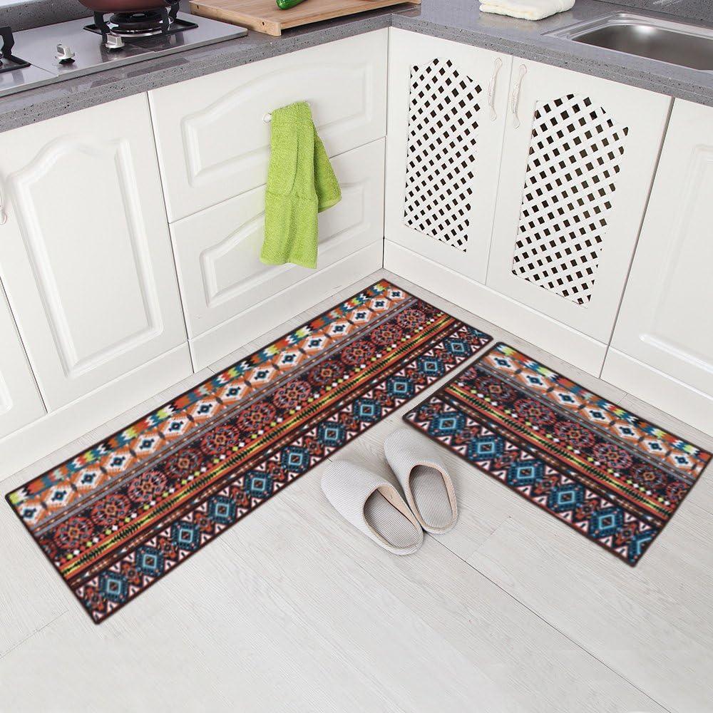 """Carvapet 2 Piece Non-Slip Kitchen Mat Runner Rug Set Doormat Vintage Design Bohemia Style,Brown (20""""x59""""+20""""x31"""")"""