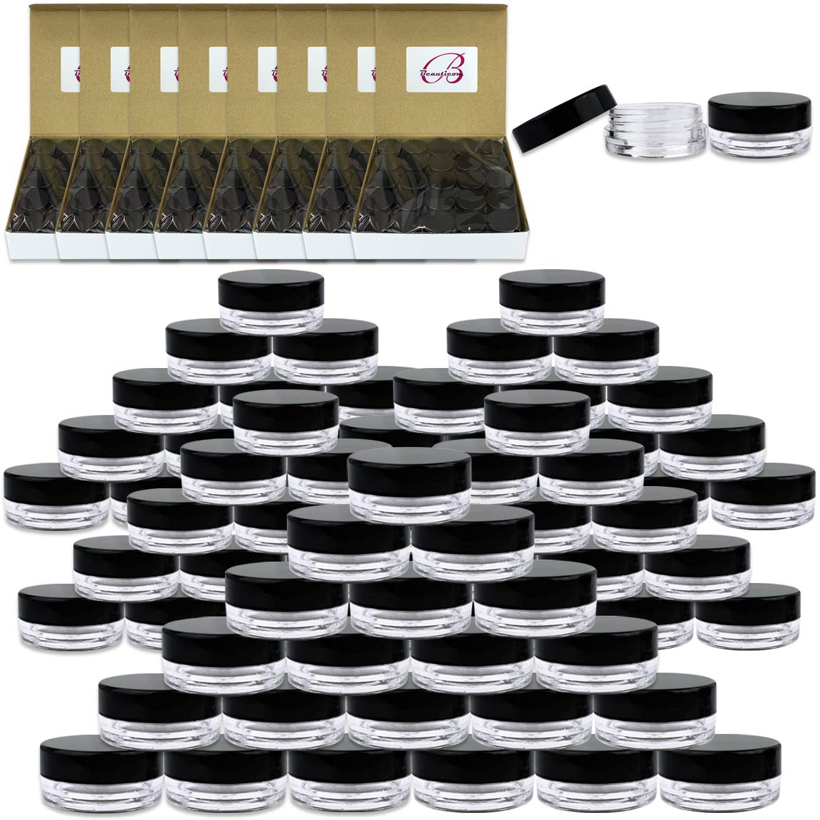 Beauticom 3G/3ML Round Clear Jars with Black Lids for Small Jewelry, Holding/Mixing Paints, Art Accessories and Other Craft Supplies - BPA Free (Quantity: 1000pcs)