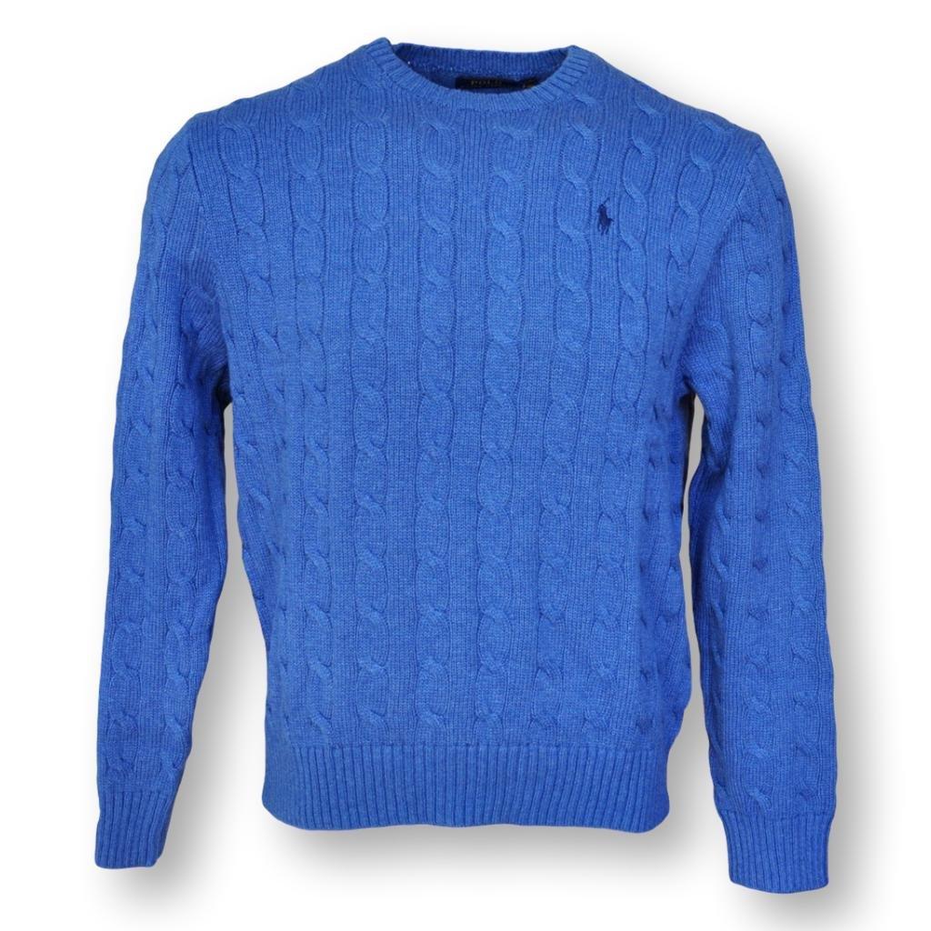 POLO RALPH LAUREN MEN'S CABLE-KNIT COTTON SWEATER, BLUE HTR, XL