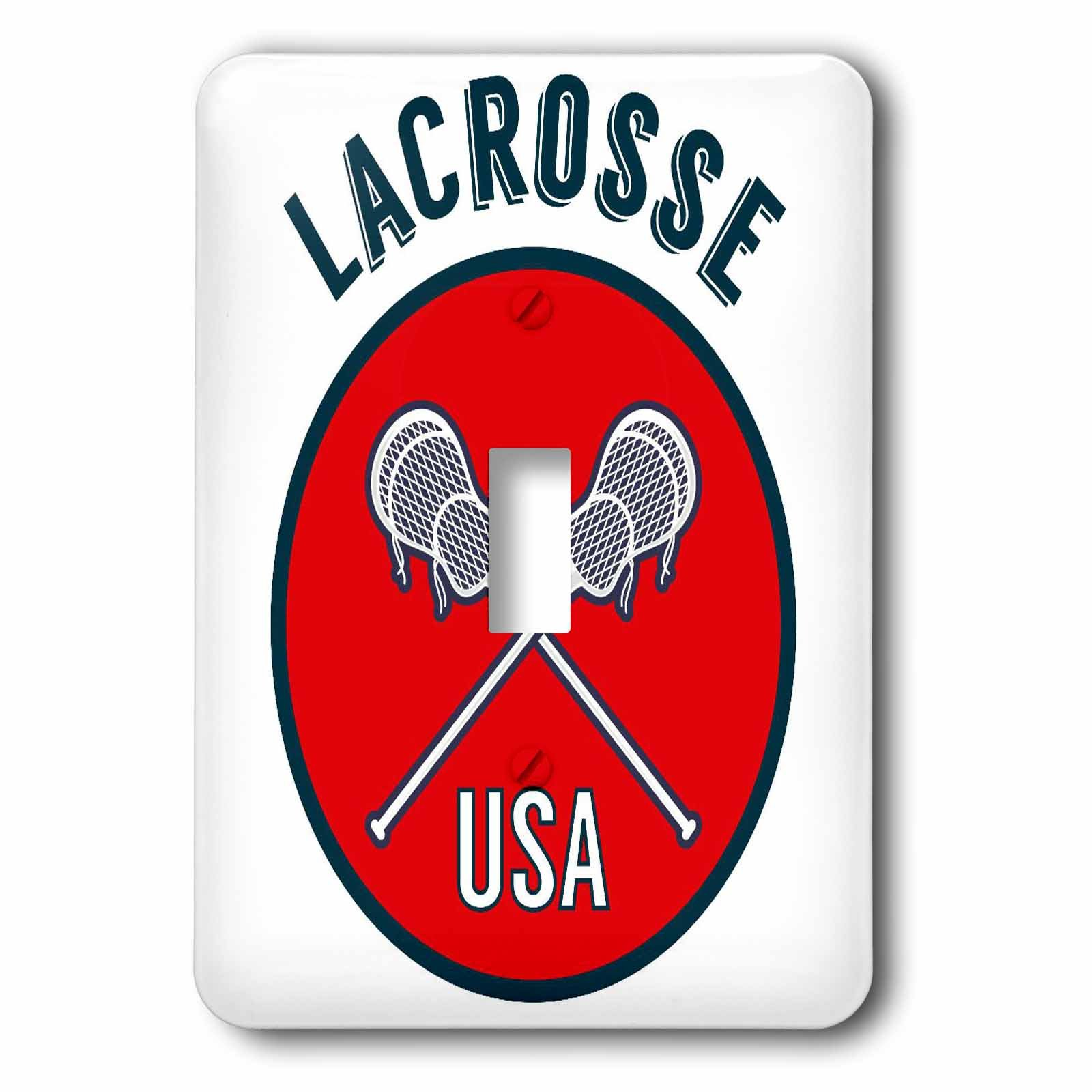 3dRose TNMGraphics Sports - Sports Red Circle Lacrosse USA - Light Switch Covers - single toggle switch (lsp_286291_1)